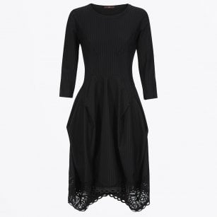 - Praise - Pinstripe Tech Lace Dress - Black