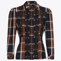 - Pronounce - Printed Tartan Top - Rust