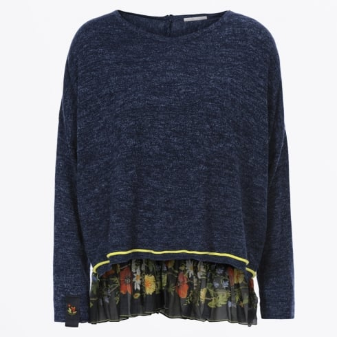 HIGH - Recital Sweater With Floral Frill Back - Blue