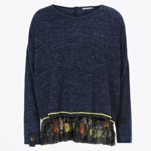 - Recital Sweater With Floral Frill Back - Blue