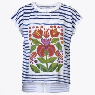 - Revel Stripe Tee With Floral Front