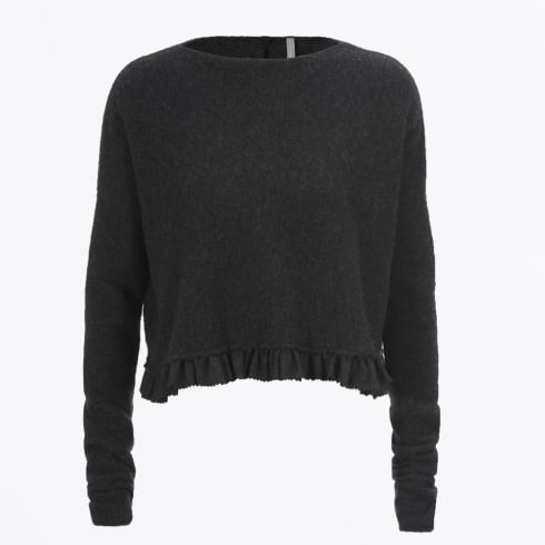 HIGH - Seeking Cropped Sweater with Woven flannel Frill - Charcoal