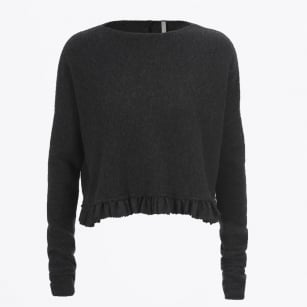 - Seeking Cropped Sweater with Woven flannel Frill - Charcoal
