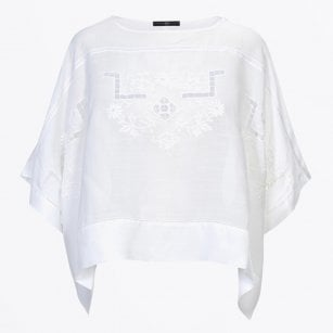 - Shy Embroidered Poncho - White