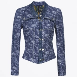 - Tip Off Flower Print Denim Jacket - Blue