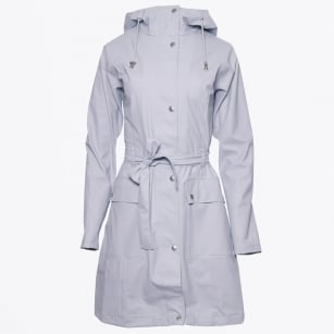 - Rain 70 Belted Hooded Rain Coat - White Blue