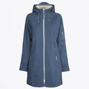 - Rain7B Contrast Trim Raincoat - Blue Rock