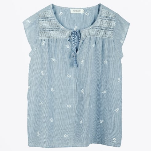 Indie & Cold - Embroidered Pinstripe Top - Blue