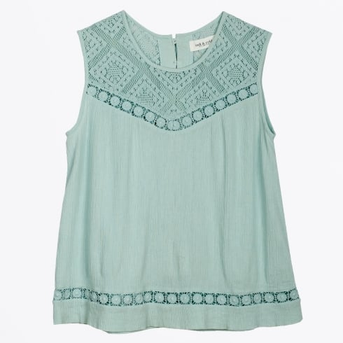 Indie & Cold - Embroidered Romantic Top - Mint