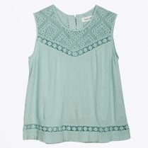 - Embroidered Romantic Top - Mint
