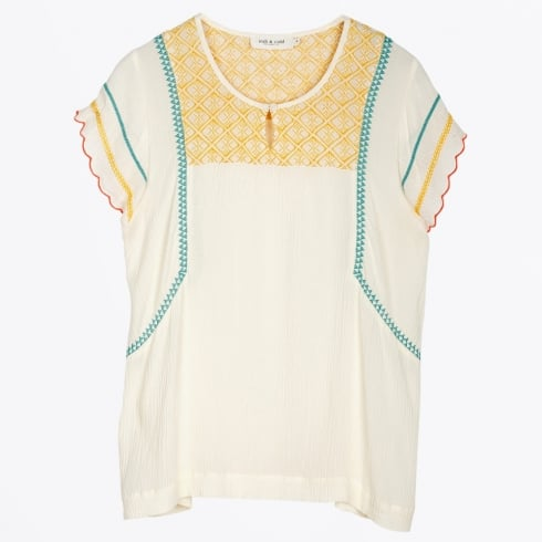 Indie & Cold - Embroidered Ruffle Sleeve Top