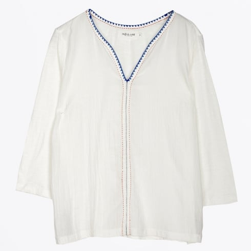 Indie & Cold - Embroidered Trim Top - White
