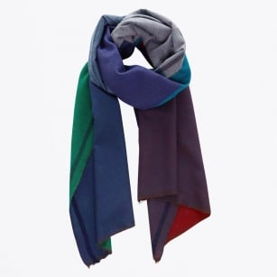 | Naga Wool Block Scarf - Blue