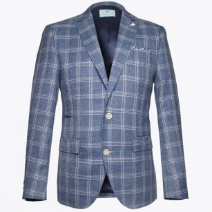 | Big Check Blazer - Blue