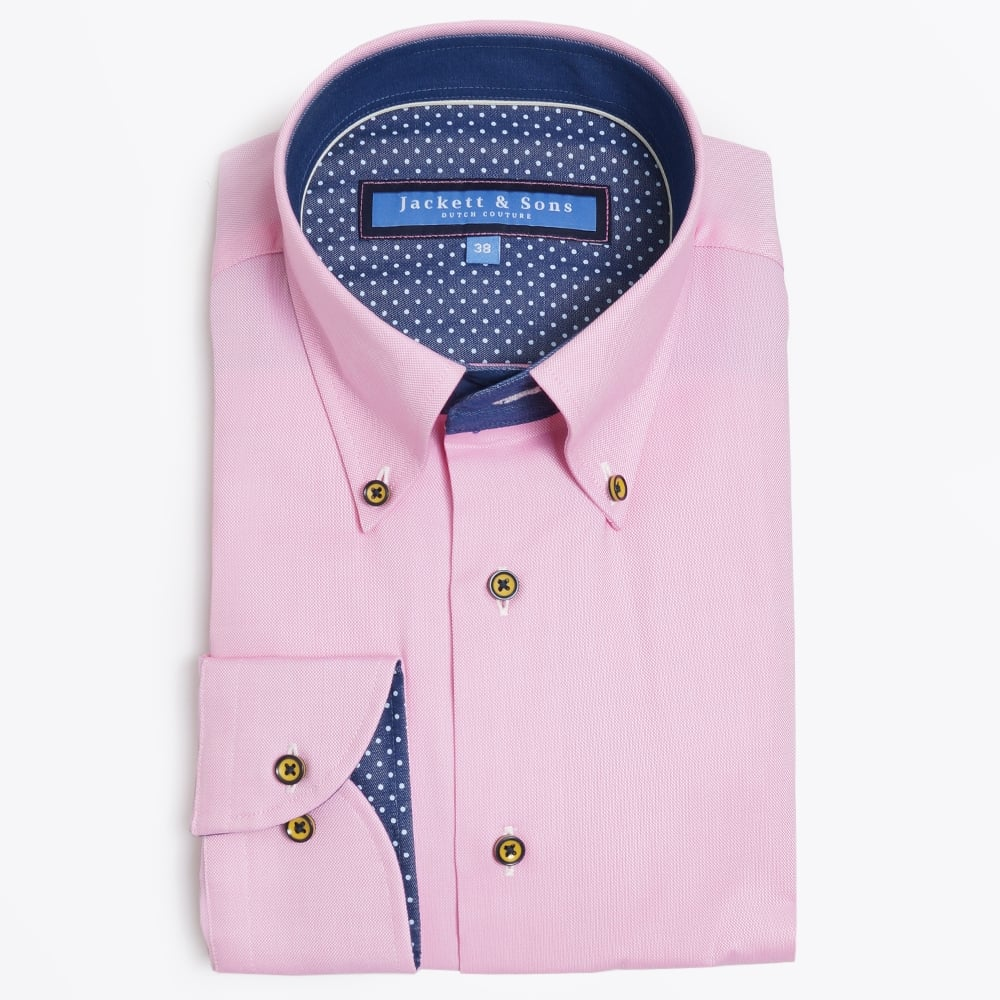Button collar pink shirt mens designer shirts jackett for Mens button collar shirts