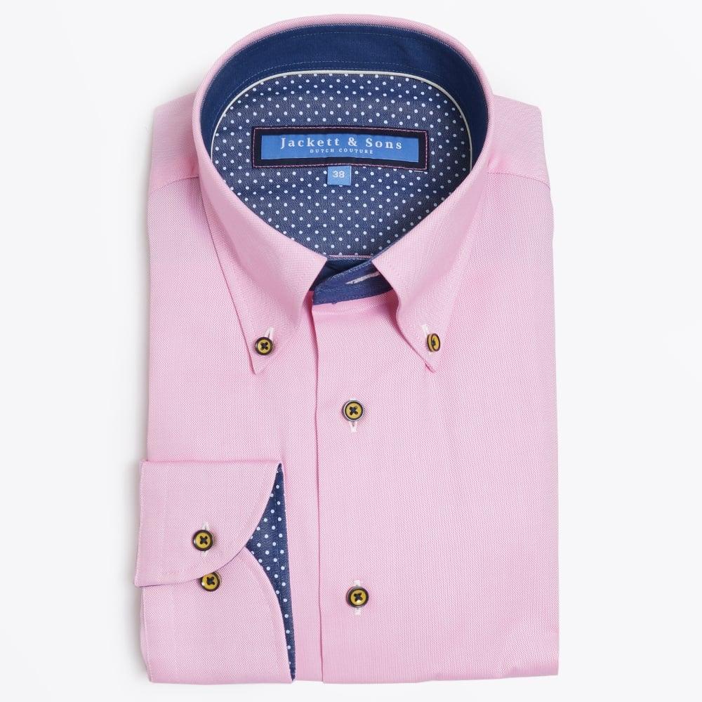 Button collar pink shirt mens designer shirts jackett for Button collar t shirt