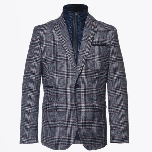 Jackett & Sons - Checked Blazer with Inner Zip - Navy