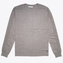 - Crewneck Knit With Shoulder Detail - Grey