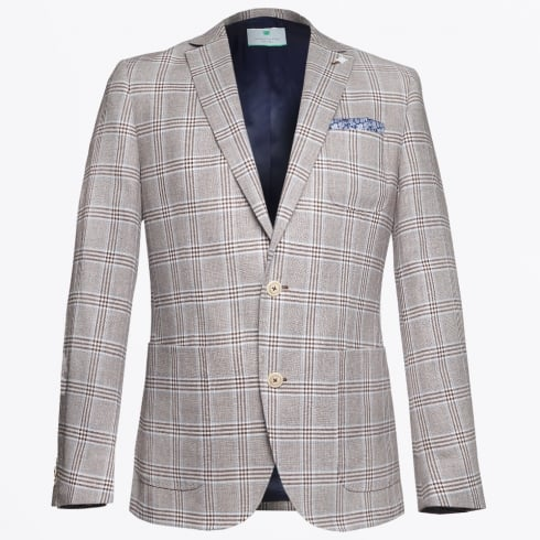 Jackett & Sons - Linen Check Suede Elbow Patch Blazer - Sand