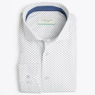| Navy Blue Dot Print - White