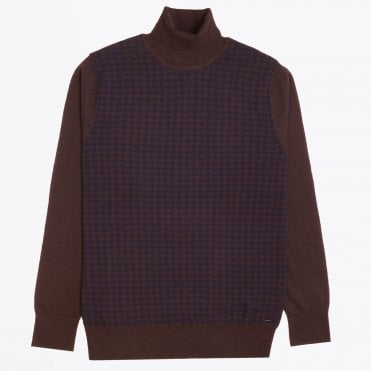 - Roll-neck Dogtooth Knit - Brown