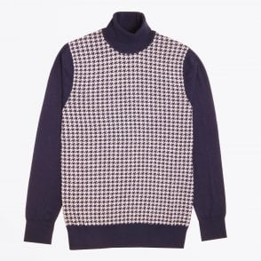 - Roll-neck Dogtooth Knit - Navy