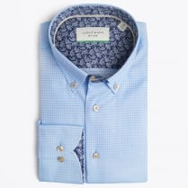 - Square Woven Detail Shirt - Blue
