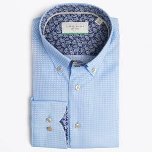 | Square Woven Detail Shirt - Blue