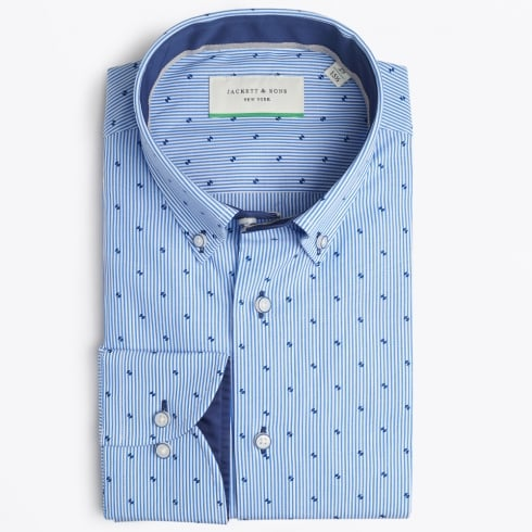 Jackett & Sons - Stripe Shirt With Small Print - Blue