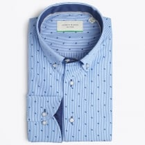 - Stripe Shirt With Small Print - Blue