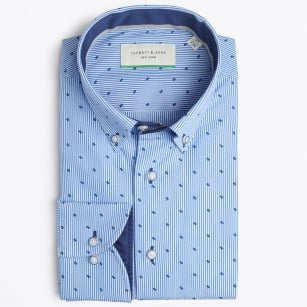 | Stripe Shirt With Small Print - Blue