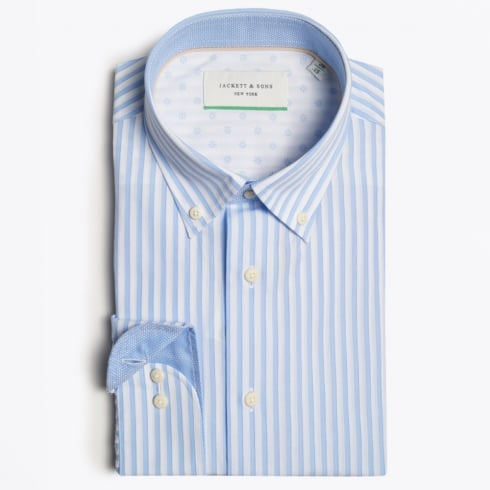 Jackett & Sons - Striped Shirt with Check Insert - Blue