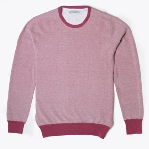 - Textured Crew Neck - Berry