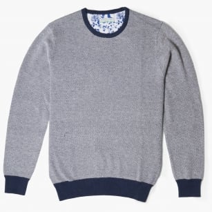 - Textured Crew Neck Jumper - Navy