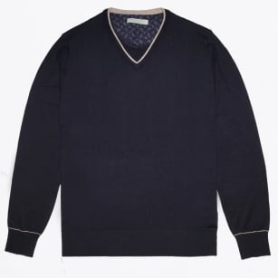 - V Neck Knit - Navy