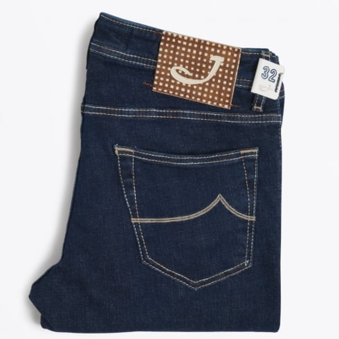 Jacob Cohen - J622 Low Rise Gingham Label Jeans - Indigo