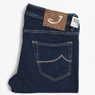 | J622 Low Rise Gingham Label Jeans - Indigo