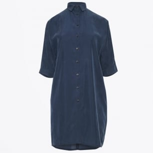 - Split Sleeve Shirt Dress - Blue
