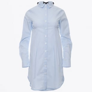 - Stripe Shirt Dress - Blue
