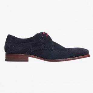 - Blaylock Oil Suede Wing Tip Shoes - Navy