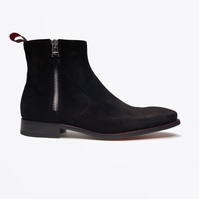 Jeffery West - Oiled Suede Zip Boot - Black