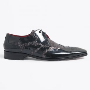 | Scarface Two Tone Mock Wing Tip Shoe - Metal
