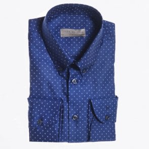 - Cotton Woven Shirt - Navy