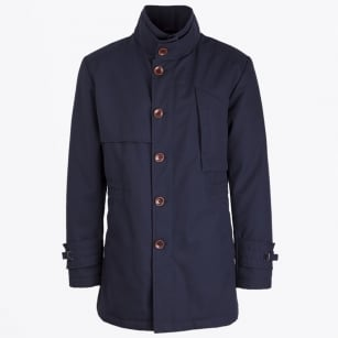 - Coleman Button High Collar Jacket - Navy
