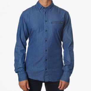 | Perkins Blue Denim Shirt | Zip Pocket