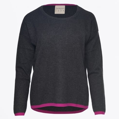 Jumper 1234 - Contrast Trim Sweater - Charcoal