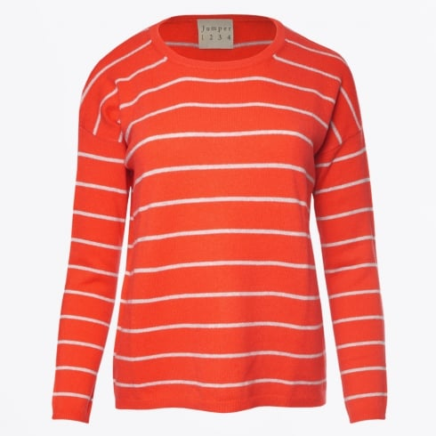 Jumper 1234 - Fine Stripe Crew Sweater - Geranium