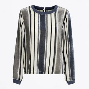 - Elena Striped Blouse - Blue