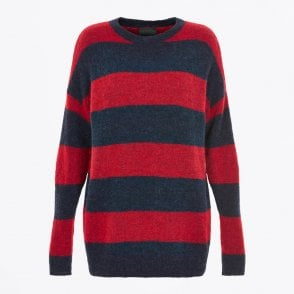 - Knitted Striped Pullover - Red