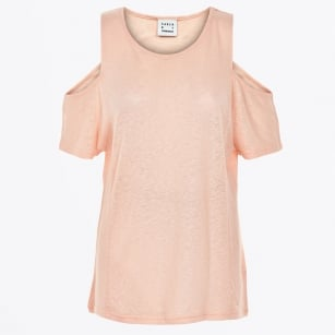 | Neon Open Shoulder Tee - Cameo Rose